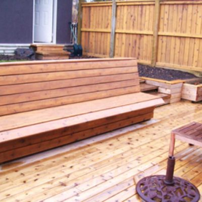 Custom Wood Bench in Decks and Fences by European Garden Design Calgary