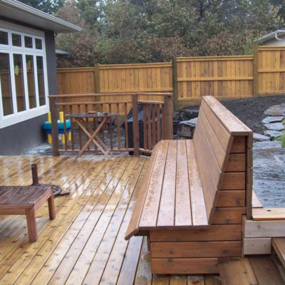 Custom Wooden Bench in Decks and Fences by European Garden Design Calgary