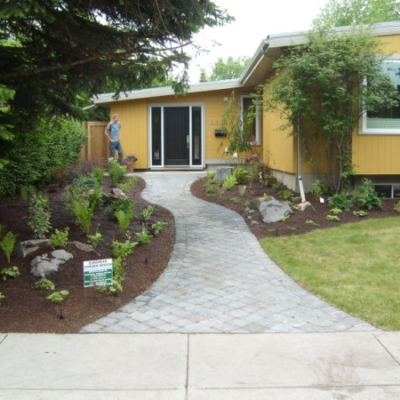 After Paving Stone Pathway Landscaping Design Before After by European Garden Design Calgary