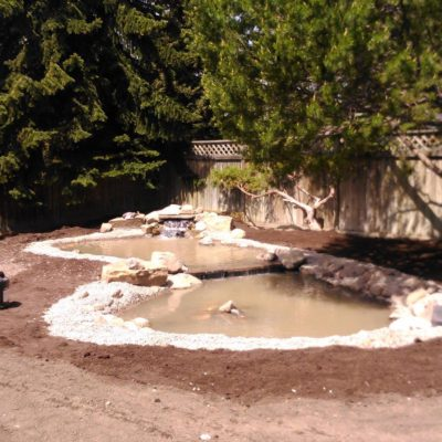 Backyard Garden Pond Design Stage 2 Before After by European Garden Design Calgary