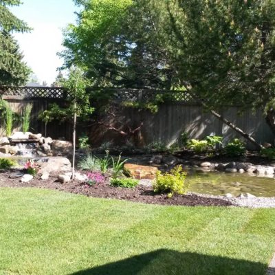 Backyard Garden Pond Design Stage 3 Before After by European Garden Design Calgary