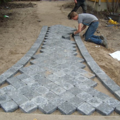 Before Paving Stone Pathway Landscaping Design Before After by European Garden Design Calgary
