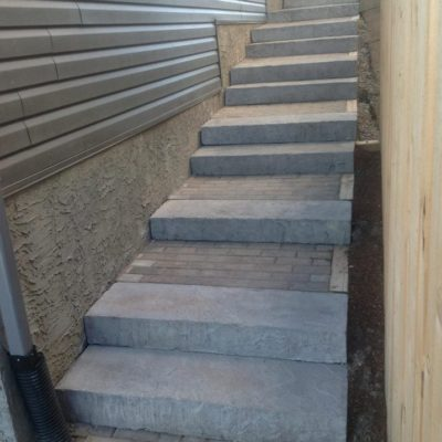 Comtemporary Natural Stone Stairs on Side of House Stonework by European Garden Design Calgary