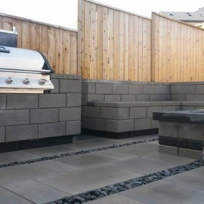 Comtemporary Stone Patio BBQ Area and Custom Fence Contemporary by European Garden Design Calgary