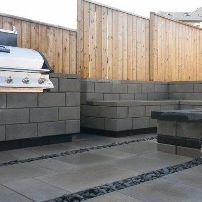 Comtemporary Stone Patio BBQ Area and Custom Fence Contemporary by European Garden Design Calgary