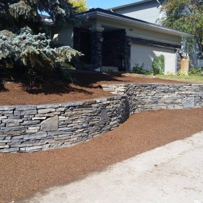 Stone Work Retaining Wall by European Garden Design Calgary