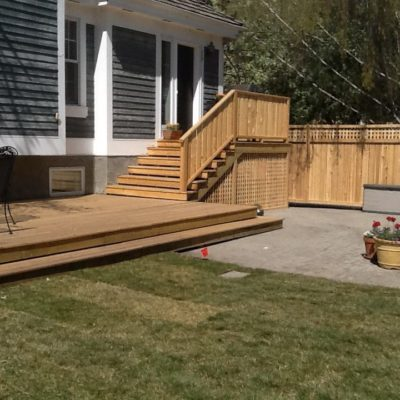 Wooden Stairs Decking in Garden in Decks and Fences by European Garden Design Calgary